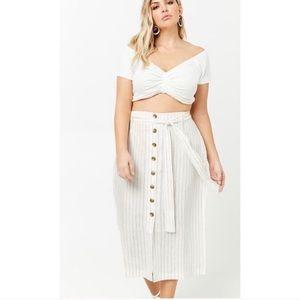 Plus Size Button Front Midi Skirt
